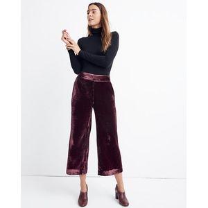 NWT Madewell Velvet Huston Pull-On Crop Pants - S